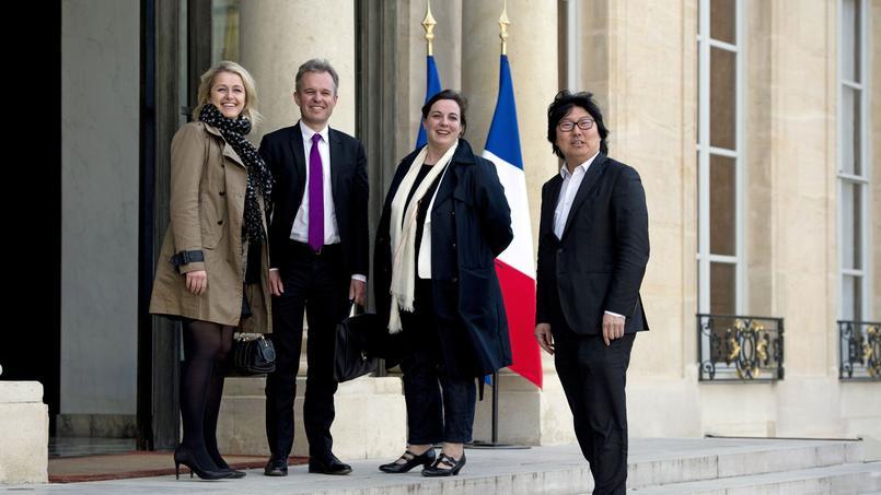 Barbara Pompili, François de Rugy, Emmanuelle Cosse et Jean-Vincent Placé à l'Élysée, le 14 mai 2014.