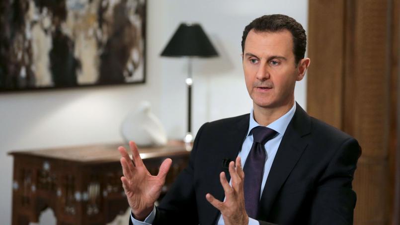 Le dictateur syrien, Bachar el-Assad, lors d'un entretien exclusif à l'AFP jeudi à Damas (Syrie).