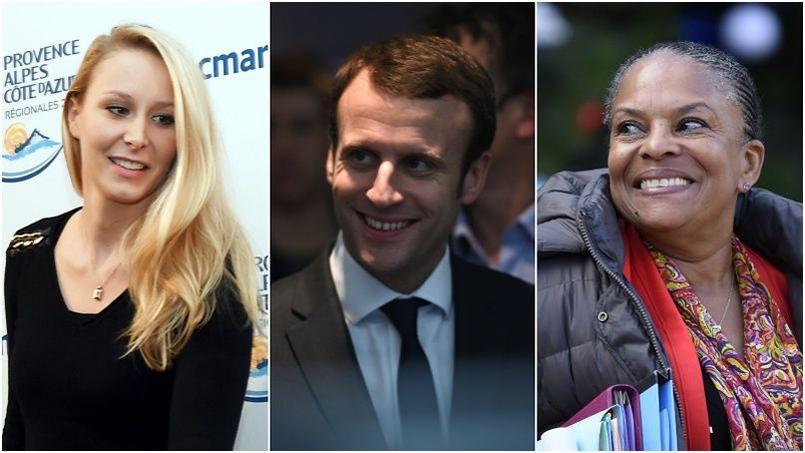 Marion Maréchal-Le Pen, Emmanuel Macron et Christiane Taubira.
