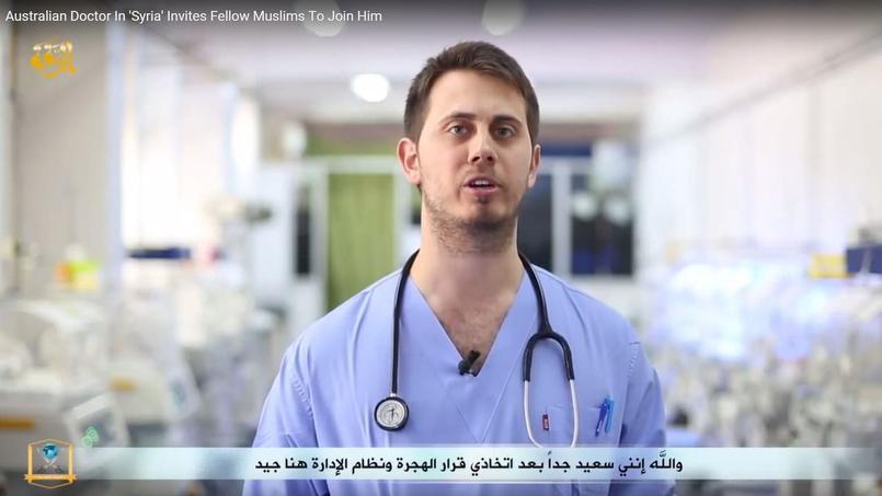 Capture d'écran d'une vidéo de propagande de Daech, mettant en scène un médecin australien venu grossir les rangs du groupe terroriste en mars 2015. Crédits photo: DR.