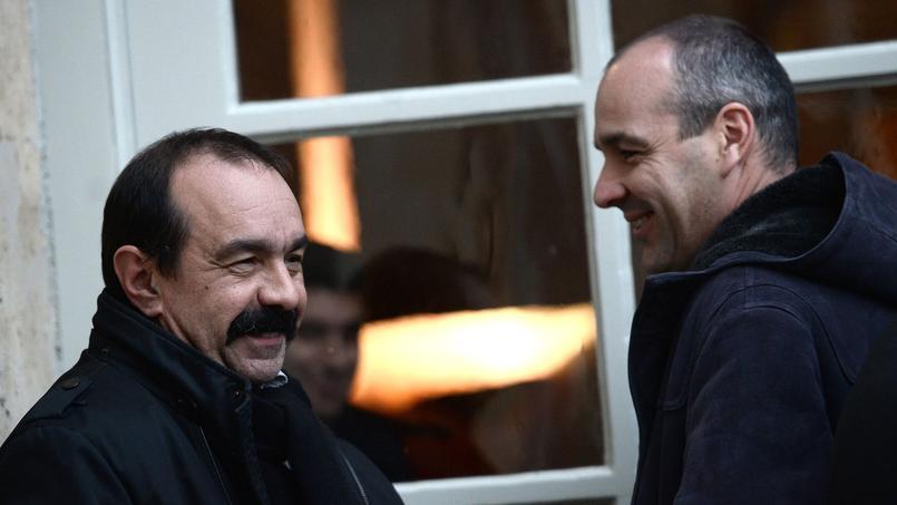 Philippe Martinez ( à gauche), le secrétaire général de la CGT et Laurent Berger, son homologue de la CFDT.