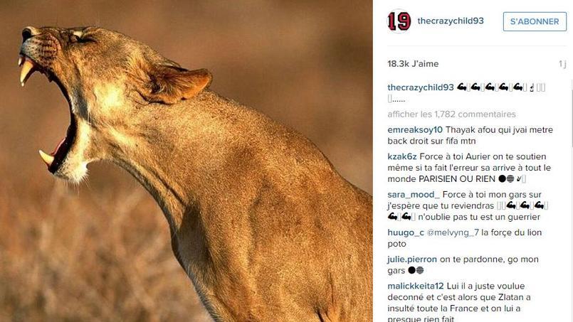 Quand Aurier rugit sur Instagram