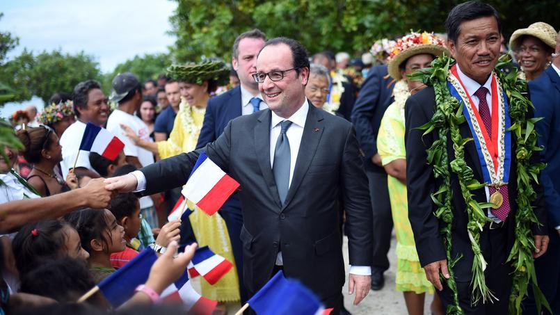 François Hollande à Raiatea mardi 23 février.