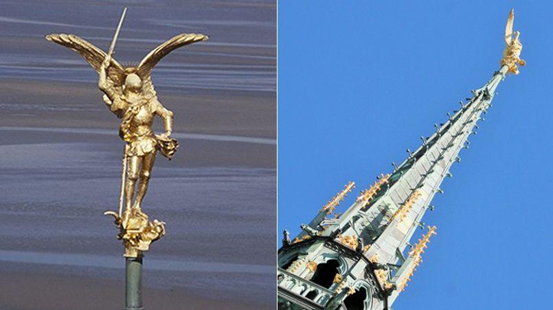 La statue de l'archange qui domine l'abbaye du Mont-Saint-Michel est hélitreuillée aujourd'hui, mercredi 24 février. Elle sera ensuite confiée à des restaurateurs afin d'être redorée.