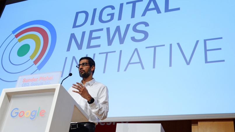 Sundar Pichai, PDG de Google, a présenté mercredi les initiatives de Google pour aider les médias.