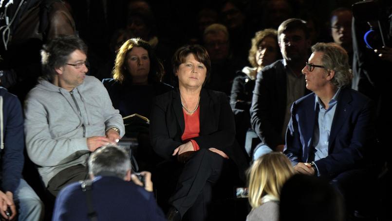 Martine Aubry, lors d'une réunion sur la primaire à la Halle au Sucre à Lille, jeudi soir.