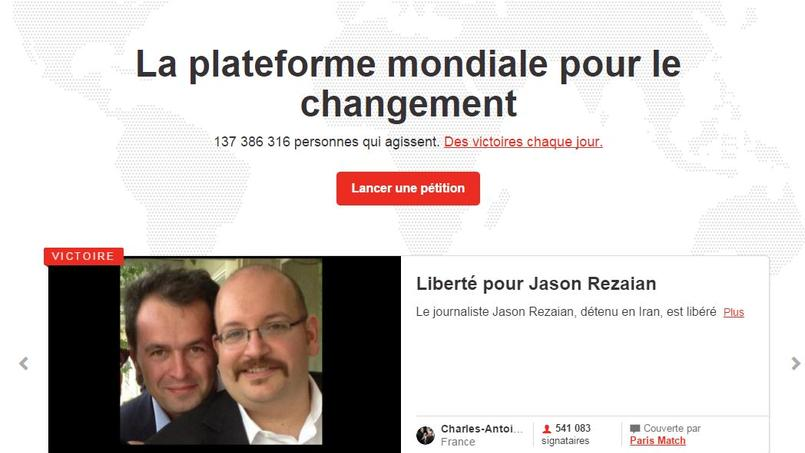 Capture d'écran du site Change.org.