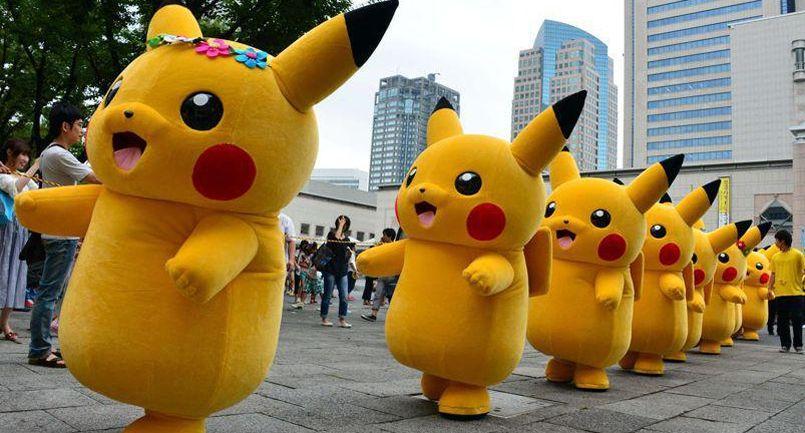 Une file de Pikachu.