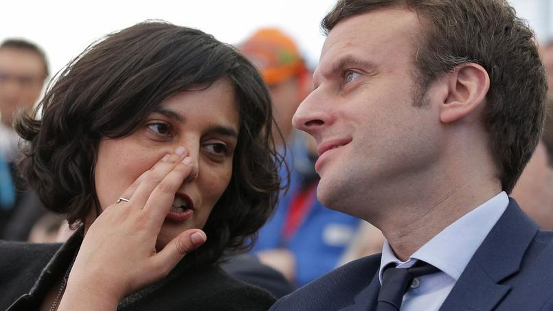 Le ministre de l'Economie Emmanuel Macron aux côtés de la ministre du Travail Myriam El Khomri, le 22 février 2016.