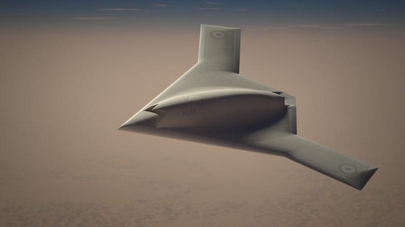 Vue d'artiste du futur drone de combat franco-britannique qui pourrait être opérationnel à l'horizon 2030.