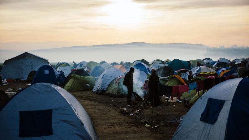 Un camp de migrants à la frontière grecque, dans le village d'Idomeni, le 6 mars.