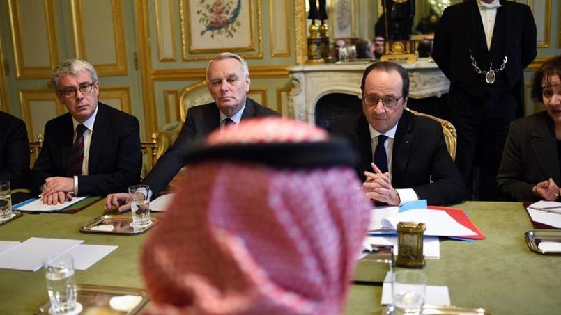 François Hollande et Jean-Marc Ayrault face au prince héritier d'Arabie saoudite, Mohammed Ben Nayef.