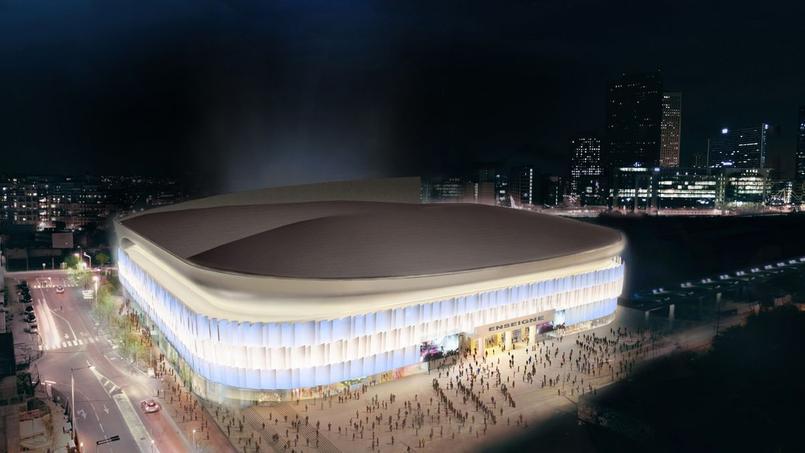 La future Arena 92 de nuit. Cabinet d'architecte Christian de Portzamparc.
