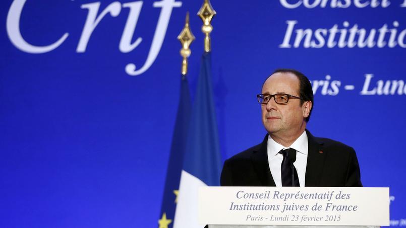François Hollande lors du dîner du Crif, en février 2015.
