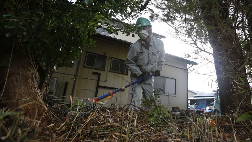 Nettoyage du jardin d'une maison particulière dans la zone contaminée de Minamisoma, près de Fukushima.
