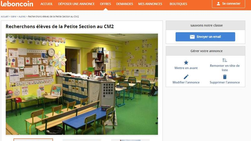 «Recherchons élèves de la Petite Section au CM2», stipule la petite annonce, mise en ligne lundi.