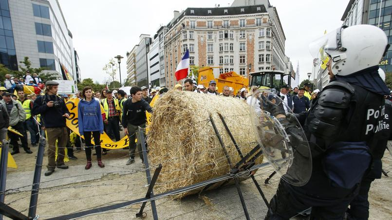 Mobilisation d'agriculteurs à Bruxelles.