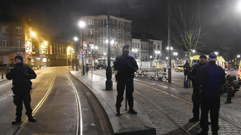 Les forces de l'odre belges, mardi 15 mars 2016, à Bruxelles.