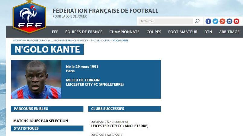 La FFF a déjà créé la fiche de N'Golo Kanté.