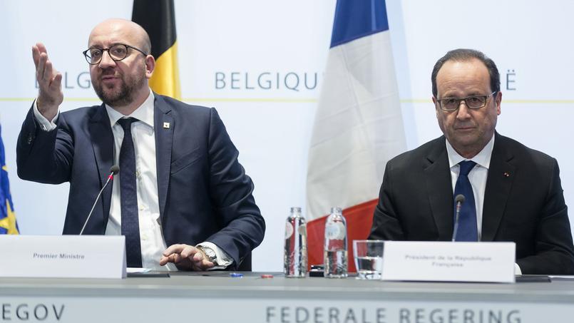 Le premier ministre belge, Charles Michel, et le président de la République, François Hollande, vendredi à Bruxelles, après l'arrestation de Salah Abdeslam.