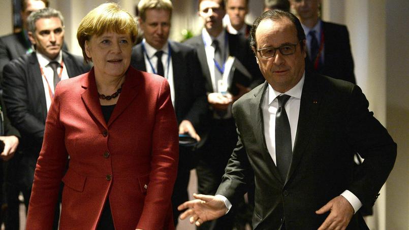 Angela Merkel et François Hollande jeudi à Bruxelles, avant un entretien avec le premier ministre grec, Alexis Tsipras.