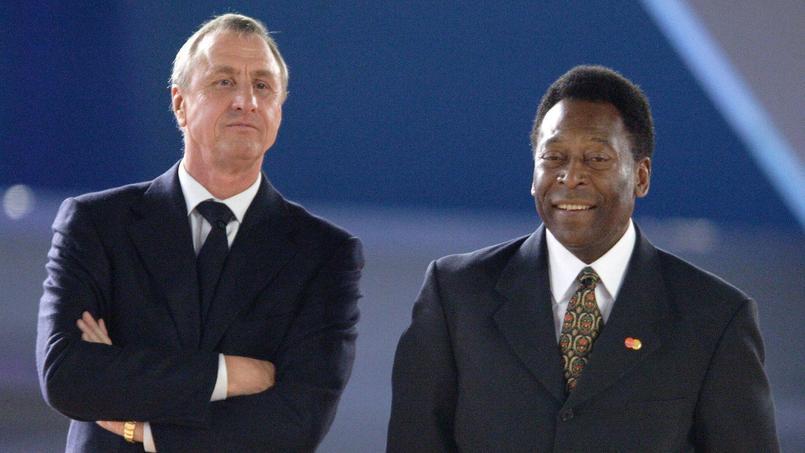Johan Cruyff aux côtés de Pelé en 2005.
