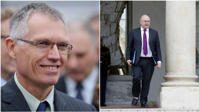 Carlos Tavares, président du directoire de PSA et Michel Sapin, ministre des Finances.