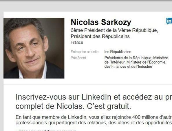 Capture d'écran du profil de Nicolas Sarkozy.