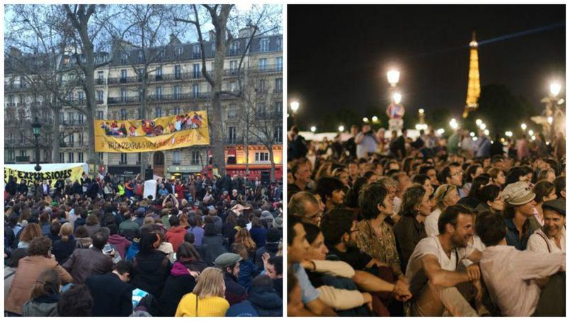 A gauche, Nuit Debout (avril 2016) - à droite Les Veilleurs (31 août 2014)