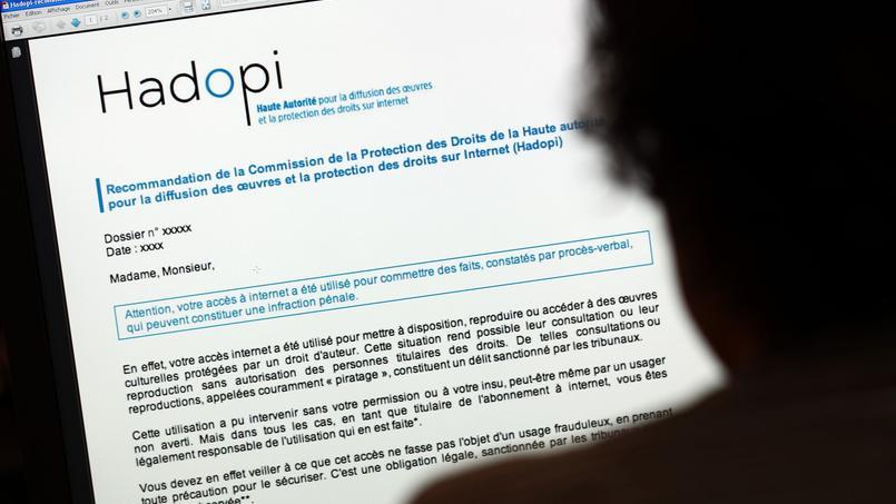 Exemple d'avertissement envoyé par mail aux internautes piratant des œuvres protégées.