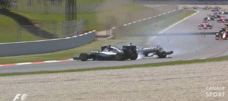 F1  Le Crash Entre Nico Rosberg Et Lewis Hamilton