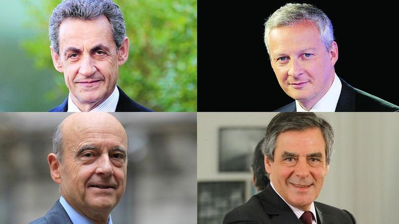 Nicolas Sarkozy, Bruno Le Maire, Alain Juppé, et François Fillon.