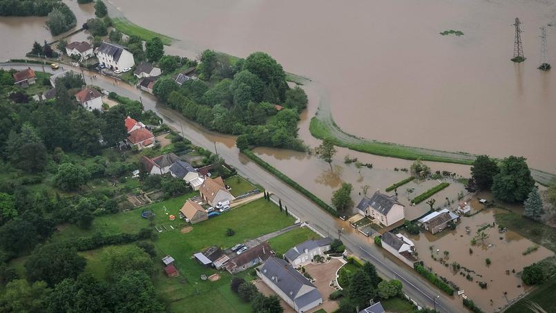 Photo aérienne des inondations au sud de Blois, le 2 juin 2016.