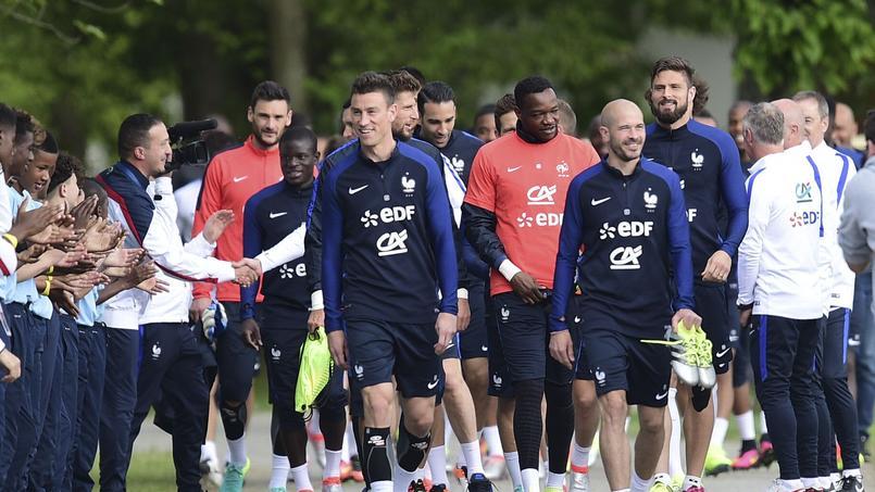 Les joueurs de l'équipe de France à Clairefontaine avant un entraînement.