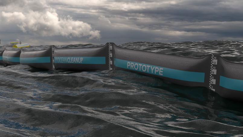 Arrimé aux fonds marins, le prototype long d'une centaine de mètres est constitué de flotteurs noirs et d'un «rideau» immergé de 1,50 mètre chacun.