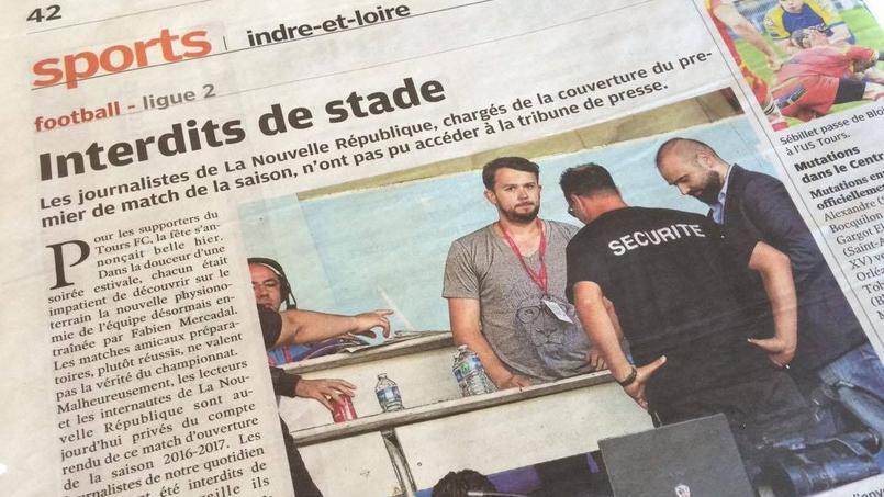 L'article de La Nouvelle République sur l'interdiction d'entrée au Stade la Vallée du Cher vendredi 29 juillet.