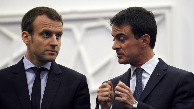 Le ministre de l'Économie Emmanuel Macron et le premier ministre Manuel Valls