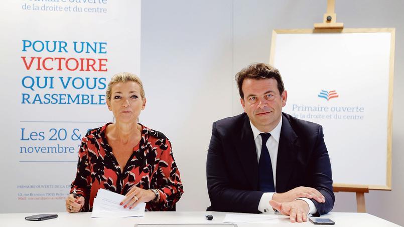 La présidente de la haute autorité de la primaire Anne Levade en compagnie de Thierry Solère.