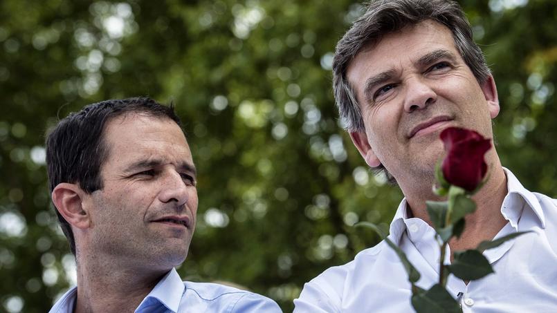 Benoît Hamon et Arnaud Montebourg à Frangy-en-Bresse, le 24 août 2014.