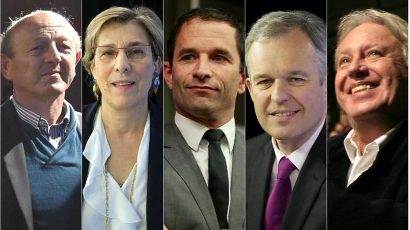 Jean-Luc Bennahmias, Marie-Noëlle Lienemann, Benoît Hamon, François de Rugy et Gérard Filoche