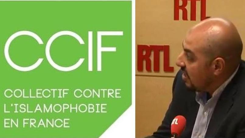 À gauche, le sigle du CCIF, à droite, Marwan Muhammad, son principal porte-parole, sur RTL le 16 août 2016.