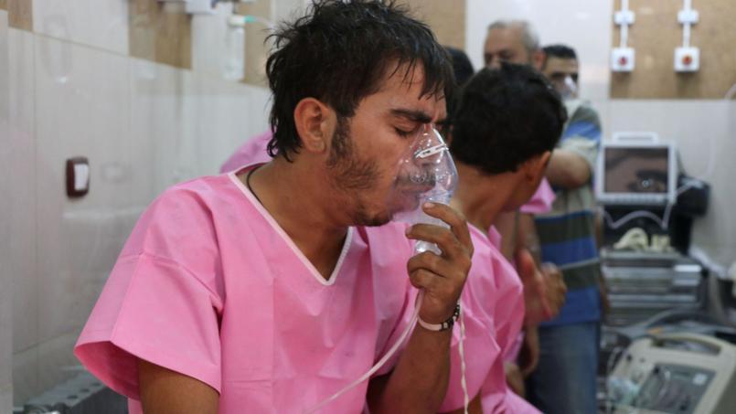 A l'hopital d'Alep, le 6 septembre dernier, après un bombardement du régime. Des bombes à sous munitions contenant du chlore ont été larguées mardi sur Alep par des hélicoptères de l'armée.