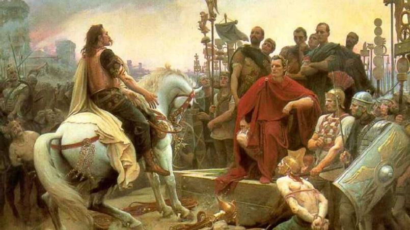 Vercingétorix jette ses armes aux pieds de César, tableau de Lionel Royer très diffusé dans les manuels d'histoire au XIXème siècle.
