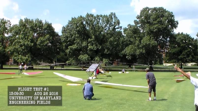 L'hélicoptère solaire de l'Université du Maryland. (Capture d'écran Youtube)