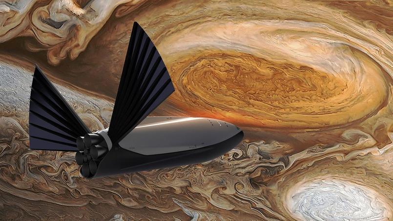 Une vue d'artiste du vaisseau habité de Space X qui pourrait emmener des dizaines d'humains vers Mars (crédit: Space X)