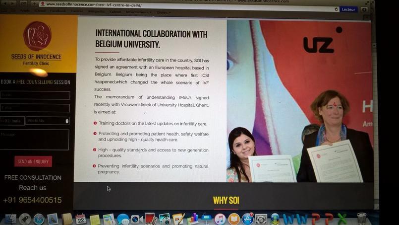 Site de la clinique indienne «Seeds of Innocence» pratiquant la GPA commerciale et revendiquant la collaboration du Pr. Petra de Sutter, seulement soutien, officiellement, de la GPA «éthique». Crédits Photo: capture d'écran.