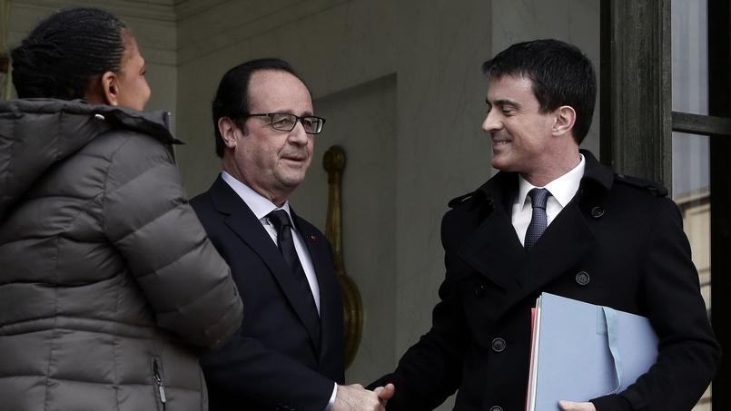 Christiane Taubira, François Hollande et Manuel Valls à l'Élysée, le 11 mars 2015.