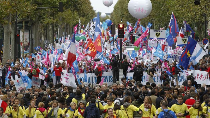Défilé parisien de La Manif pour tous, en octobre 2014.