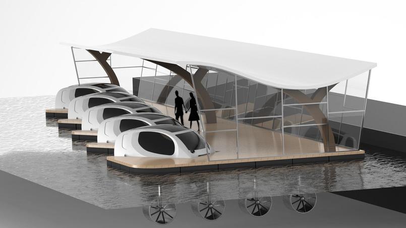 Projet de dock, complètement autonome en énergie pour accueillir des Seabubble et éventuellement des transports terrestres électriques.