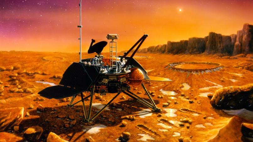 Vue d'artiste de la mission américaine Mars Polar Lander, qui s'est écrasée sur la planète rouge le 3 décembre 1999.